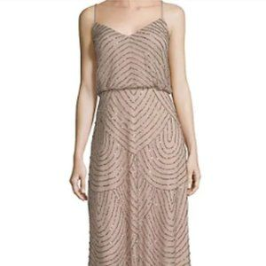 NWT-Adrianna Papell blouson beaded gown taupe/pink